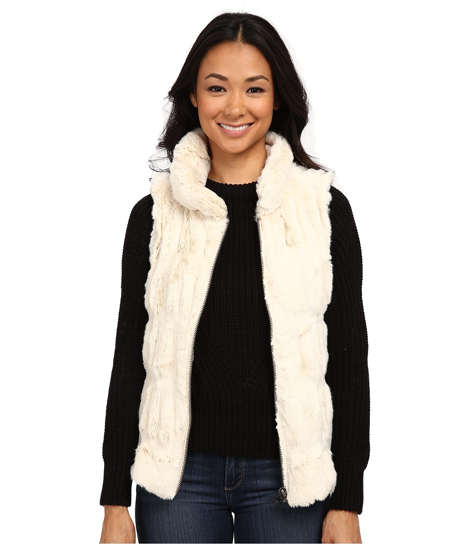 Dylan by True Grit - Fur and Textured Sweater Knit Zip Vest (Natural) Women's Vest