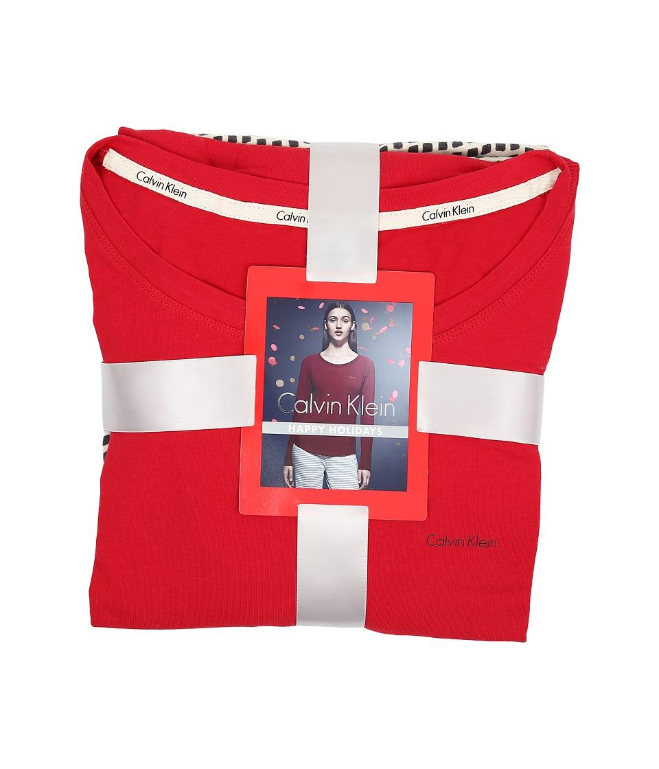 Calvin Klein Underwear - Flannel Mix Sleepwear Gift Set (Stone Print/Ashford) Women's Pajama Sets