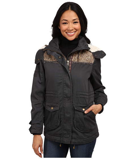 Dylan by True Grit - Vintage Surplus Jacket w/ Gold Fuzzy Sequins (Vintage Charcoal) Women