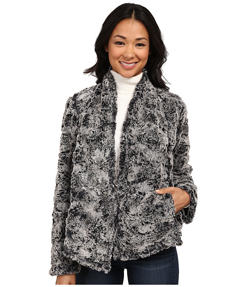 Dylan by True Grit - Silky Fur Open Zip Moto Jacket (Frosted Black) Women