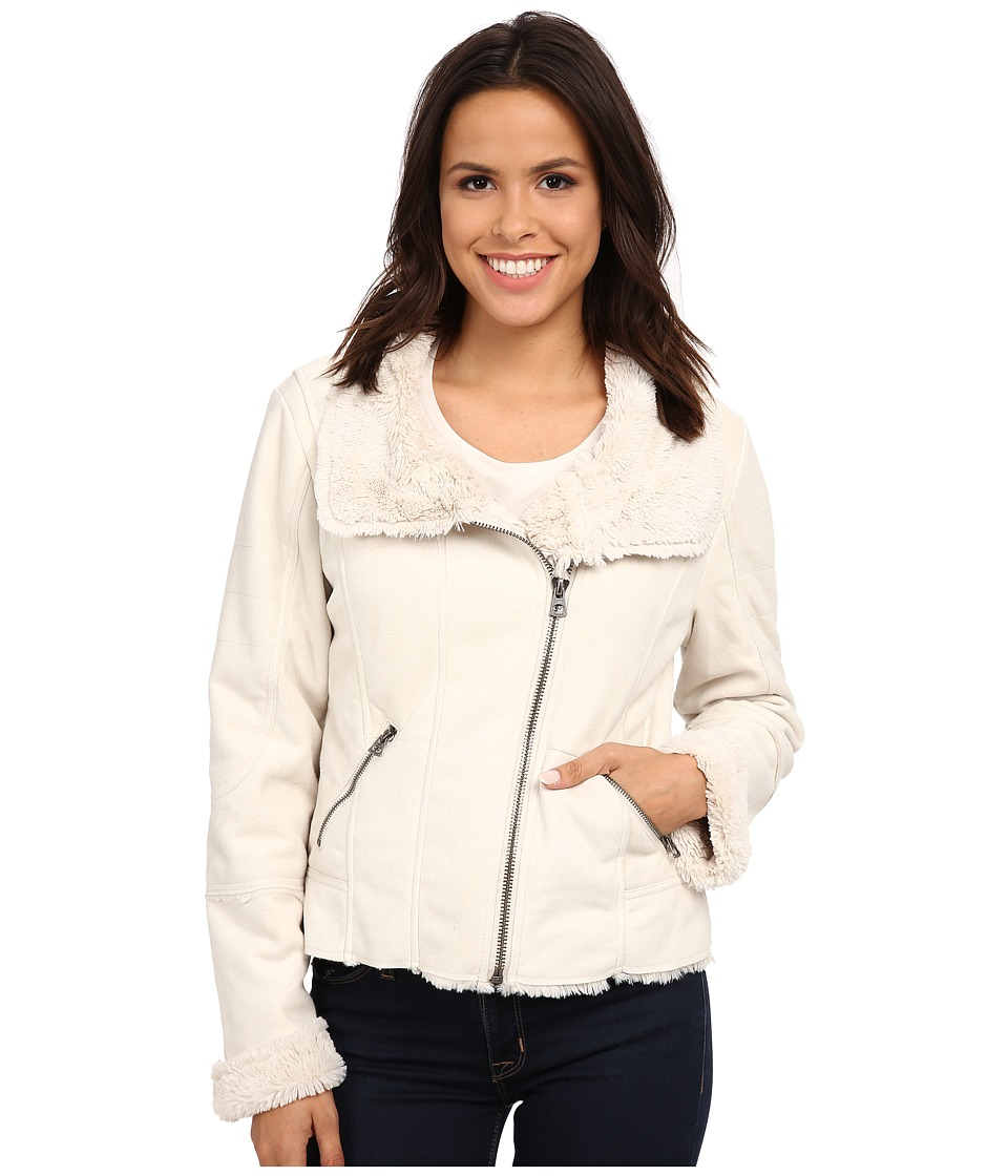 Dylan by True Grit - Silky Suede Fur and Bonded Short Seam Jacket (Winter White) Women's Coat