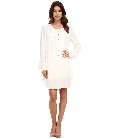 Dylan by True Grit - Laid Back Luxe Pintuck Shirtdress (Faded White) Women