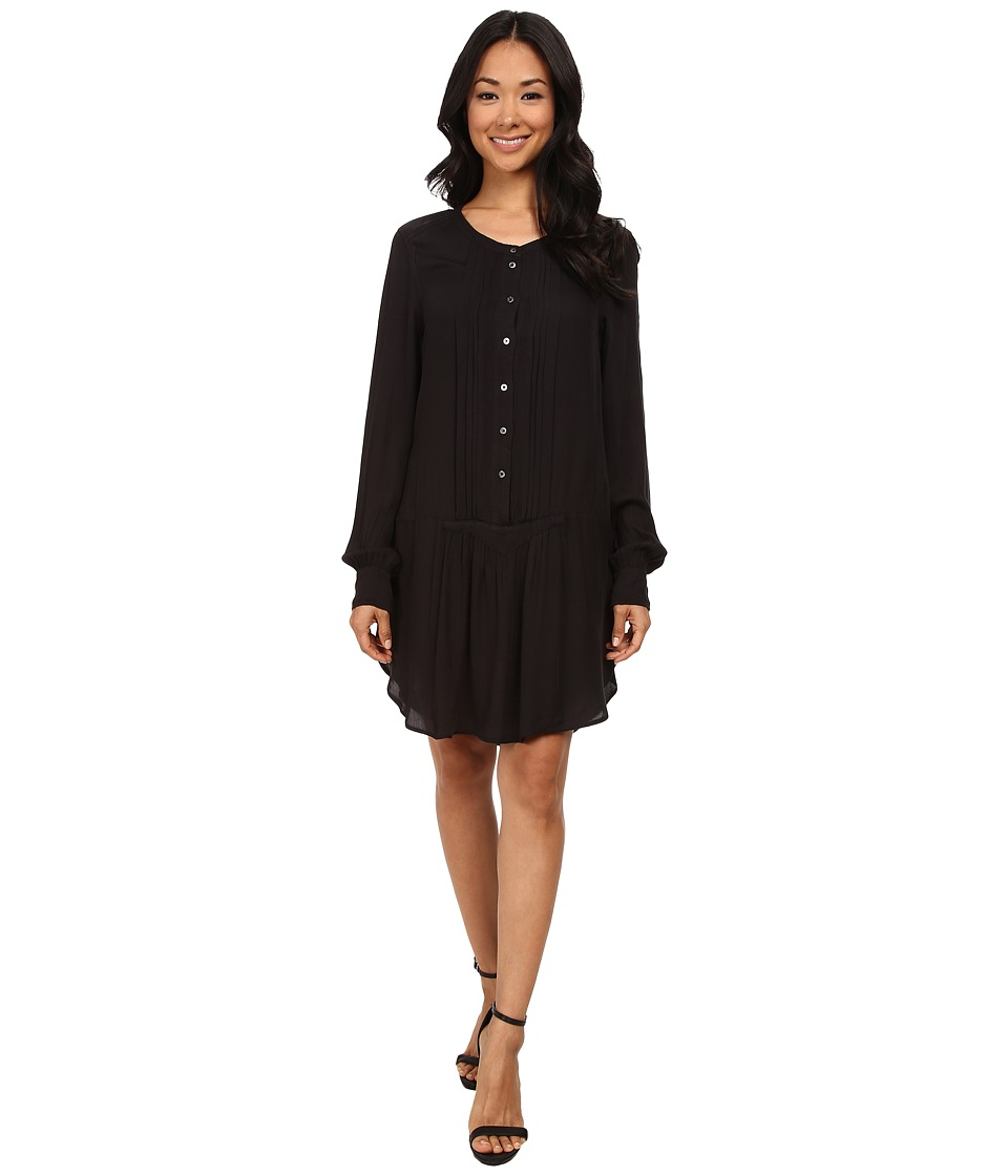 Dylan by True Grit - Laid Back Luxe Pintuck Shirtdress (Vintage Black) Women
