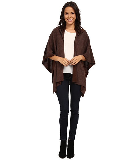 Dylan by True Grit - Spirit Waffle Sweater Wrap w/ Hoodie (Brown) Women