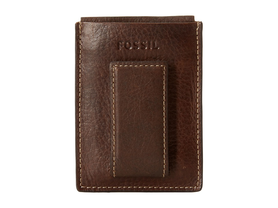 Fossil - Lincoln Magnetic Card Case (Brown) Cosmetic Case