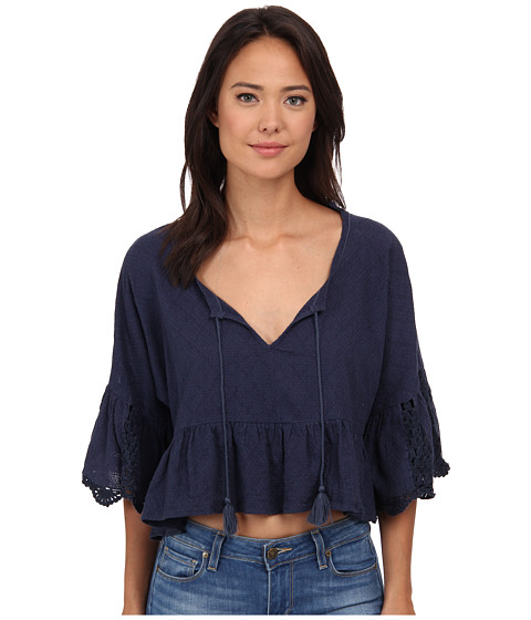 Free People - Gauze Sweet Talker Top (Navy) Women's Blouse