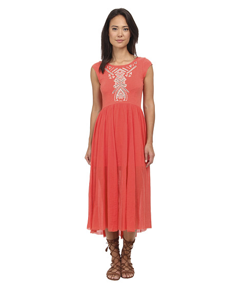Free People - Meadows Embroidered Midi Dress (Cactus Flower) Women