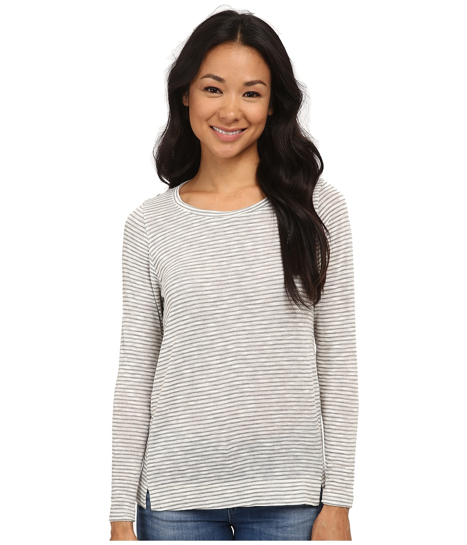 Bobeau - Textured Knit Long Sleeve Shirt (Grey) Women's T Shirt