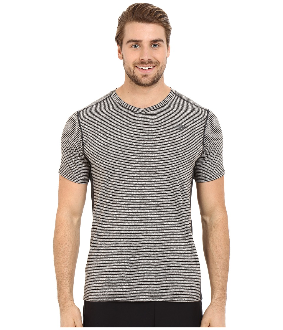 New Balance - Striped Sonic Top (Black) Men's Short Sleeve Pullover