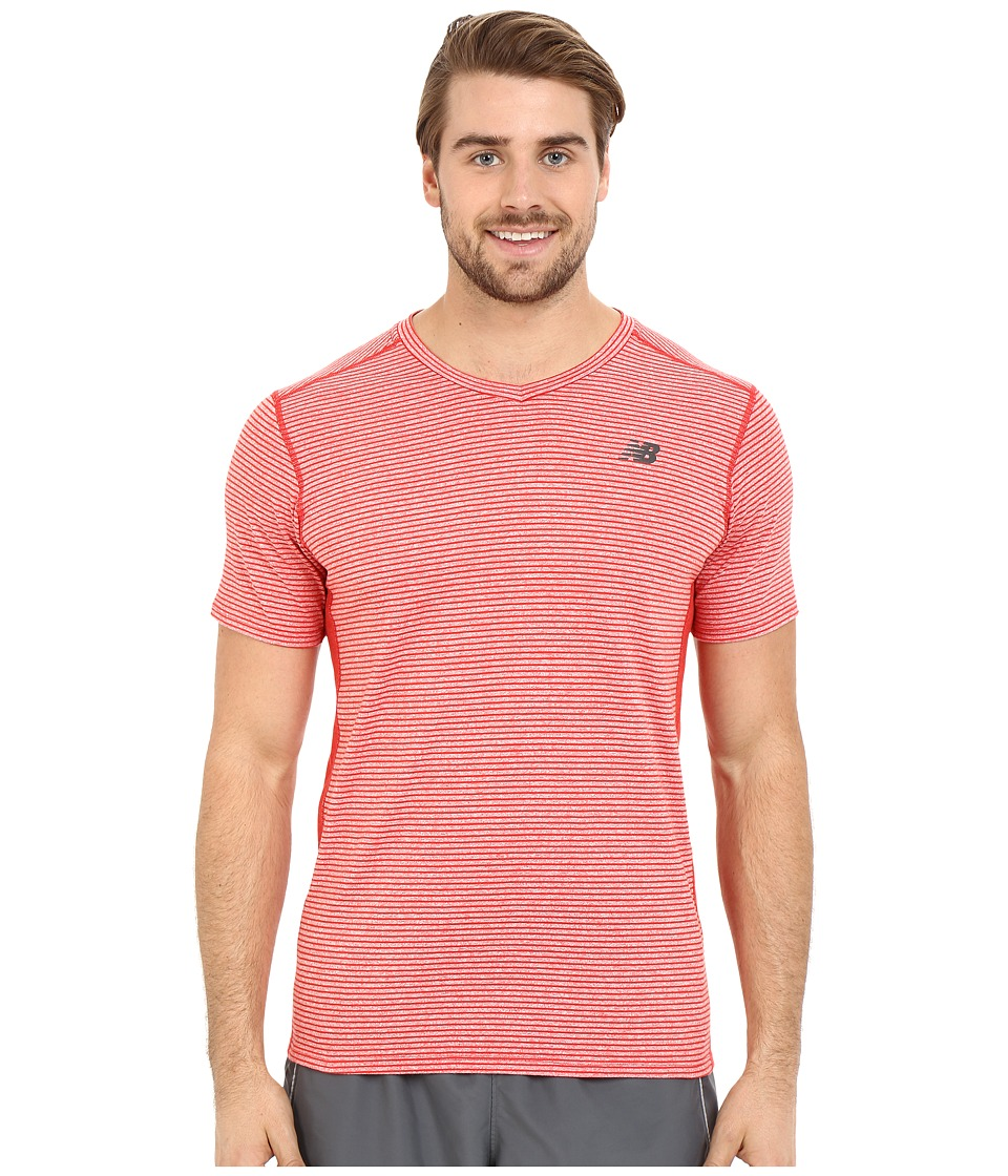 New Balance - Striped Sonic Top (Chrome Red) Men's Short Sleeve Pullover