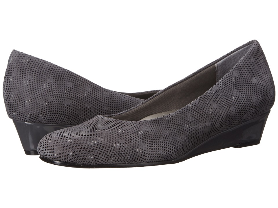 Trotters Lauren (Dark Grey 3D Patent Suede Leather) Women