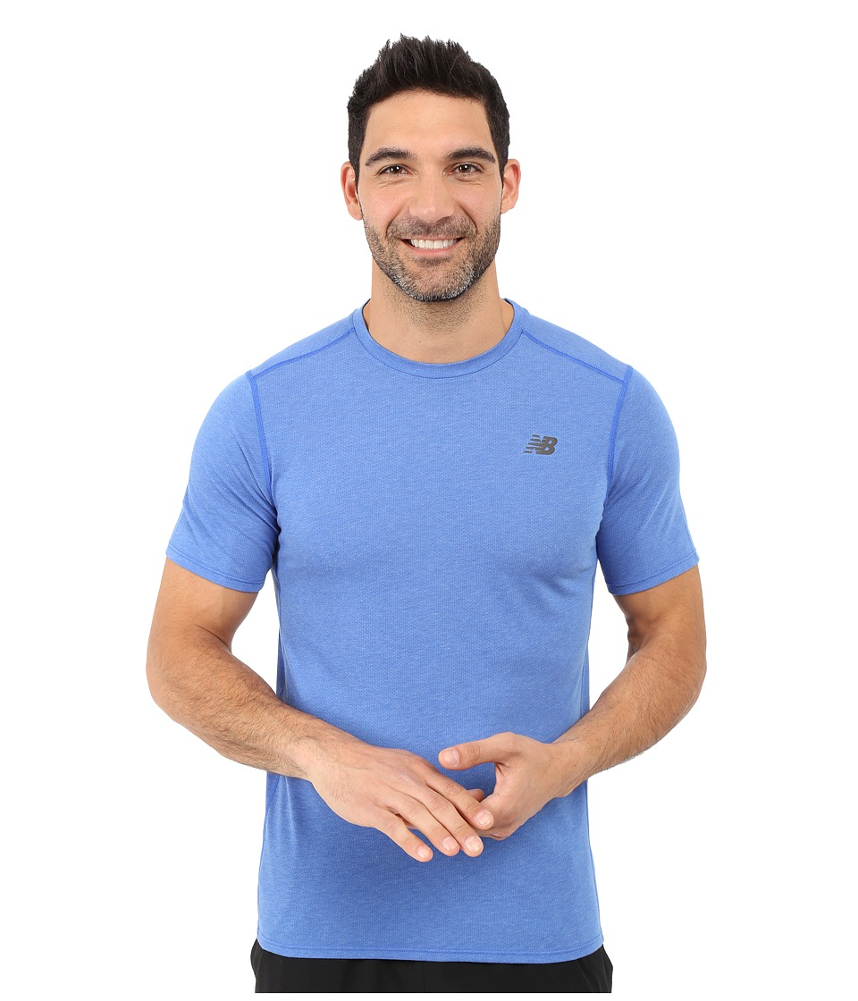 New Balance - Pindot Flux Short Sleeve Top (Pacific) Men's Short Sleeve Pullover