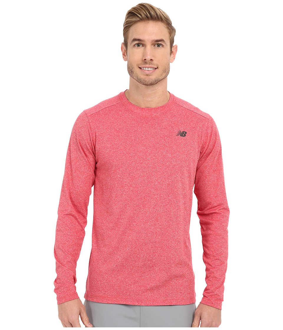 New Balance - Long Sleeve Heather Tech Tee (Chrome Red Heather) Men's Long Sleeve Pullover