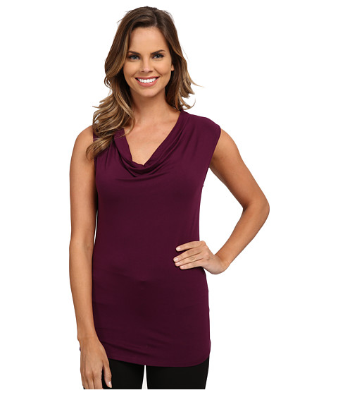 Adrianna Papell - Solid V-Neck Cap Sleeve Top (Wine) Women's Clothing