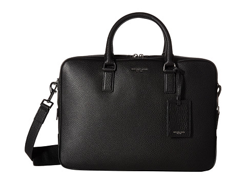 Michael Kors - Bryant Pebble Leather Large Briefcase (Black) Briefcase Bags