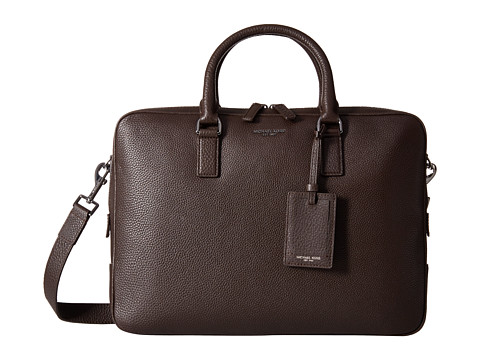Michael Kors - Bryant Pebble Leather Large Briefcase (Brown) Briefcase Bags
