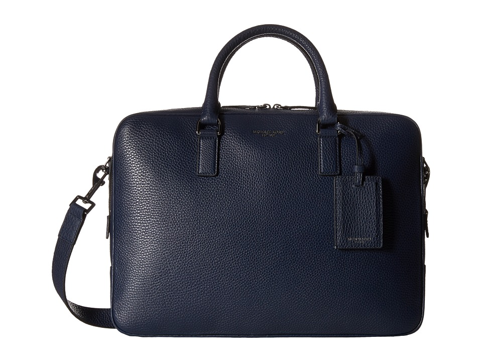 Michael Kors - Bryant Pebble Leather Large Briefcase (Navy) Briefcase Bags