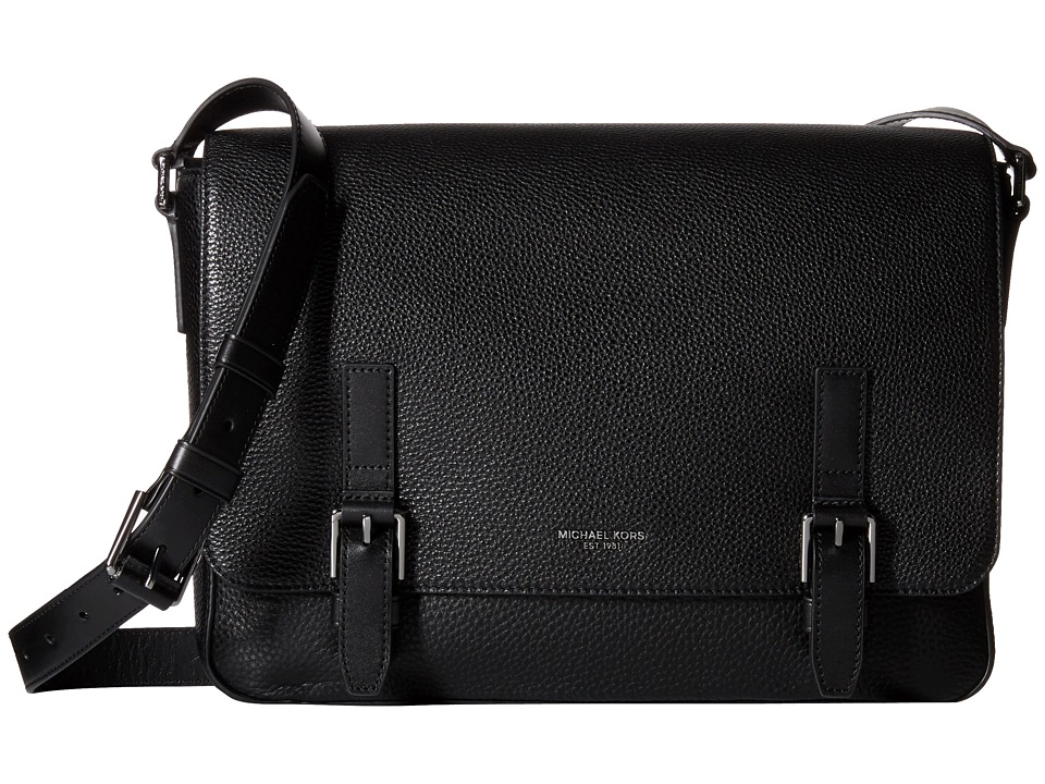Michael Kors - Bryant Pebble Leather Large Messenger (Black) Messenger Bags