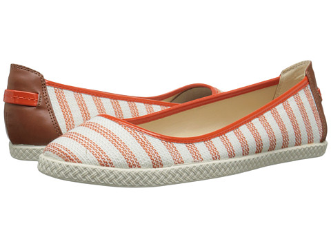 Nine West - Royalli (Orange/White Multi Fabric) Women's Flat Shoes