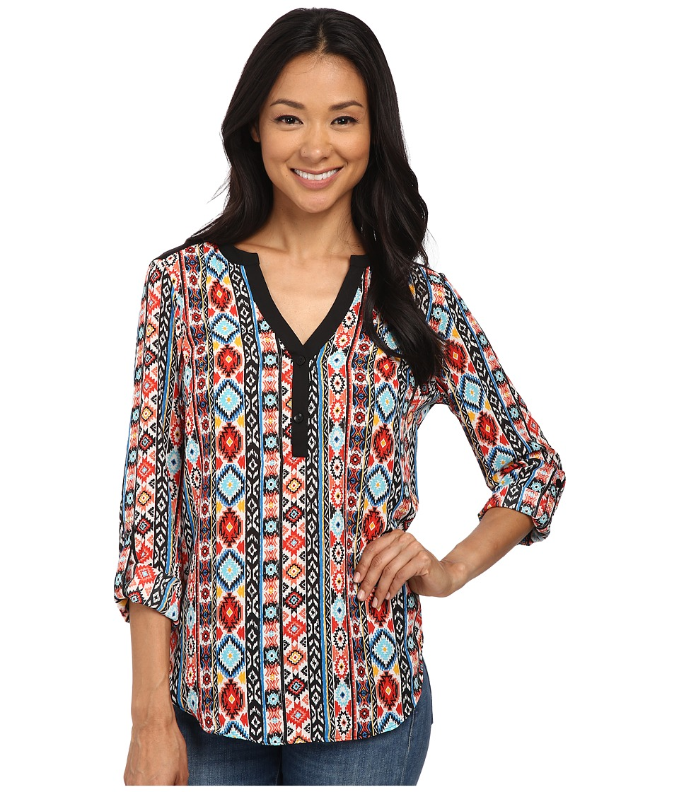 rsvp - Lena Patterned Top (Blue Coral) Women's Clothing