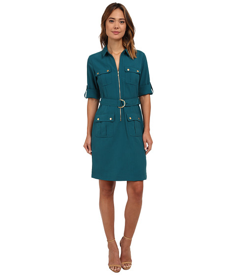 rsvp - Bailey Belted Shirtdress (Teal) Women's Dress