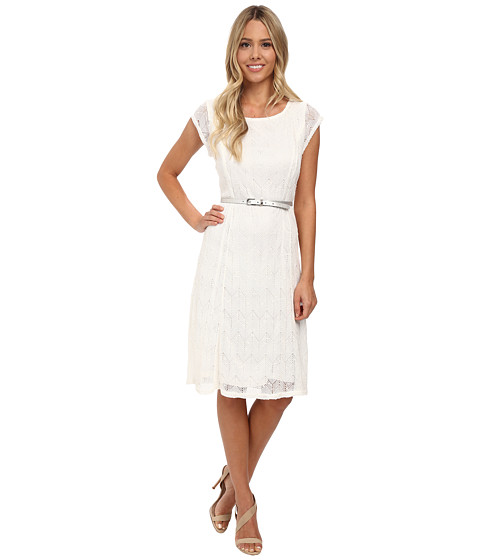 rsvp - Charlotte Belted Dress (White) Women's Dress