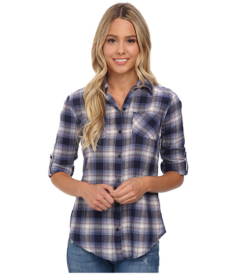 rsvp - Hailey Plaid Shirt (Blue) Women's Long Sleeve Button Up
