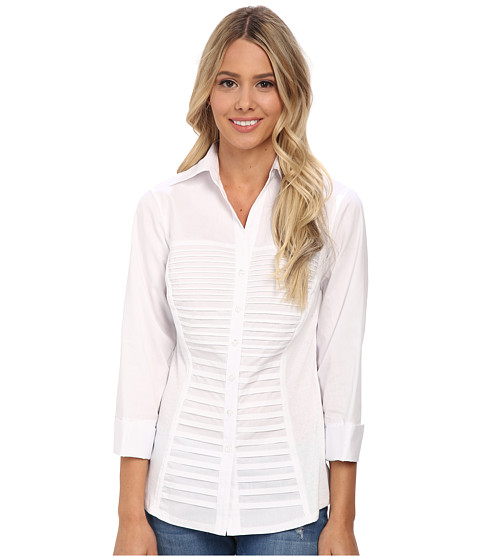 rsvp - Lacey Solid Button Down Shirt (White) Women's Long Sleeve Button Up