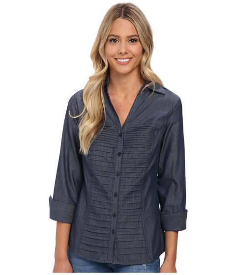 rsvp - Lacey Chambray Button Down Shirt (Dark Blue) Women's Long Sleeve Button Up