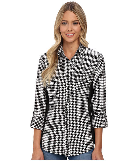 rsvp - Lacey Checkered Button Down Shirt (Black/White) Women's Long Sleeve Button Up