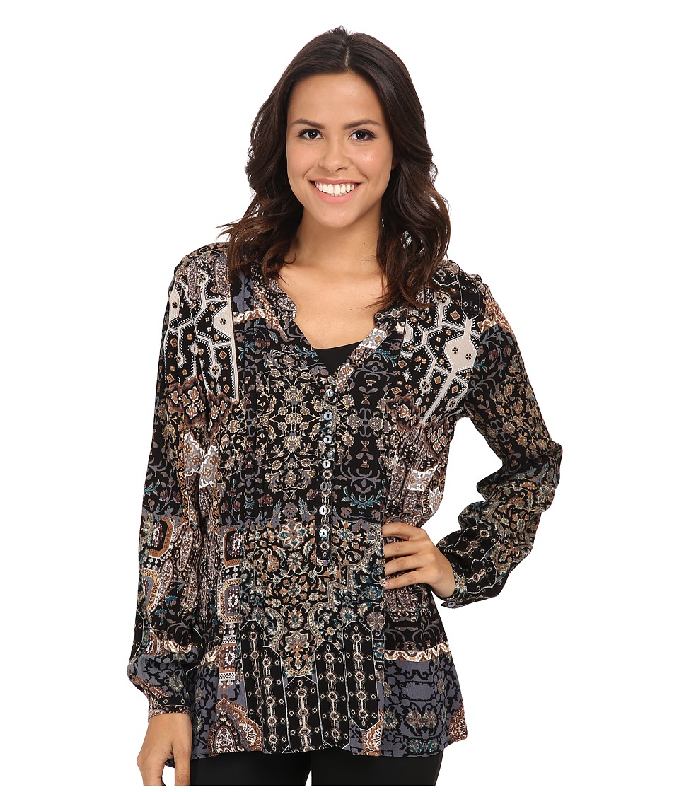 Miraclebody Jeans - Diana Pleated Print Blouse w/ Body-Shaping Inner Shell (Black) Women's Blouse plus size,  plus size fashion plus size appare