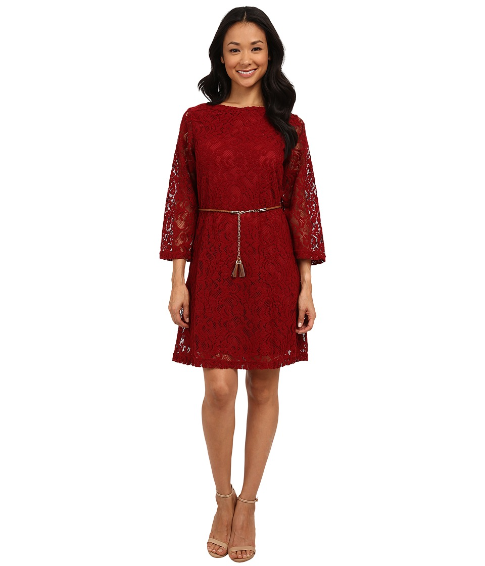 rsvp - Ella Lace Tassle Belt Dress (Cherry Wine) Women