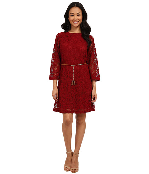 rsvp - Ella Lace Tassle Belt Dress (Cherry Wine) Women's Dress