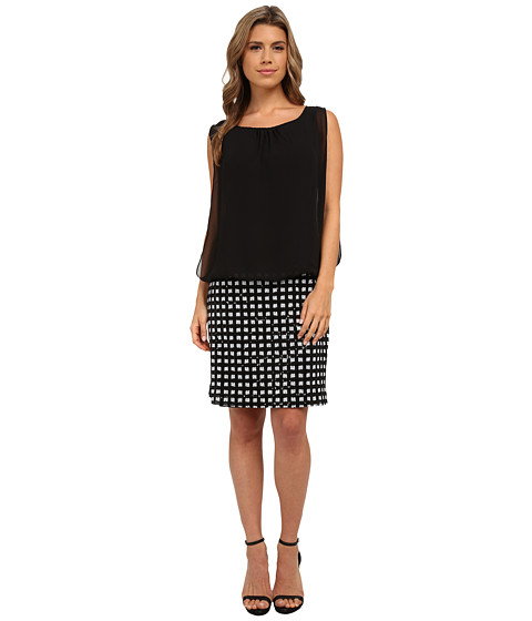 rsvp - Whitney Checkered Blouson Dress (Black) Women's Dress