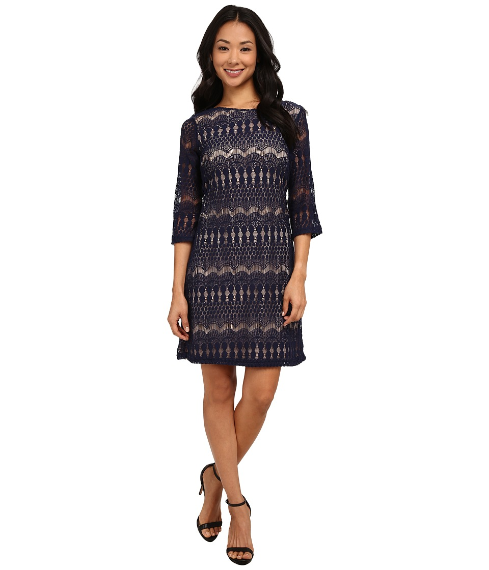 rsvp - Emily Lace Dress (Deep Royal/Nude) Women's Dress