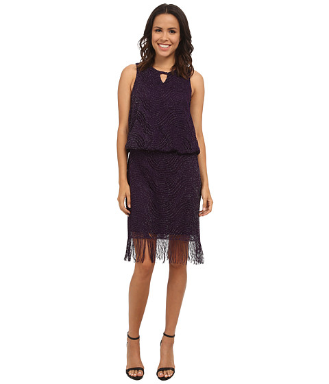 rsvp - Eva Fringe Blouson Dress (Wine) Women's Dress
