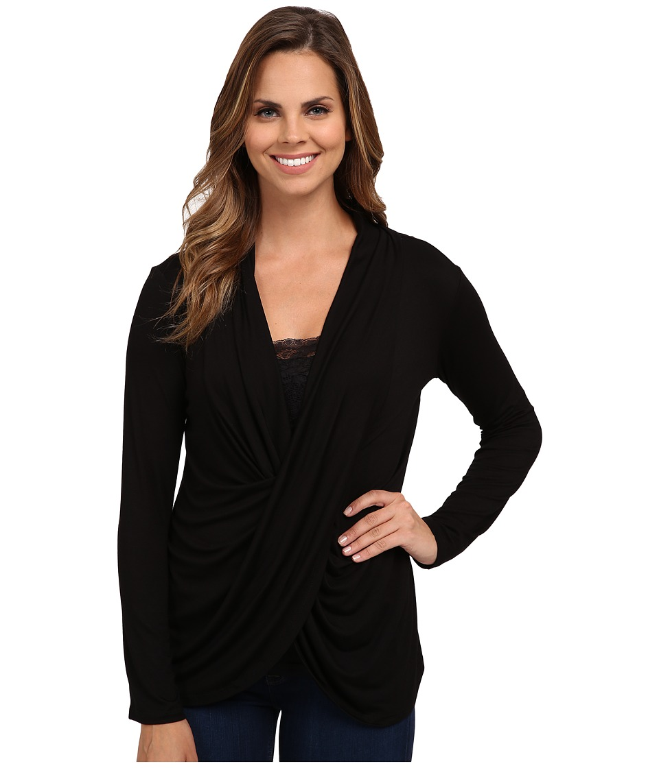 Miraclebody Jeans - Tobi Twisted Wrap Top w/ Body-Shaping Inner Shell (Black) Women's Blouse