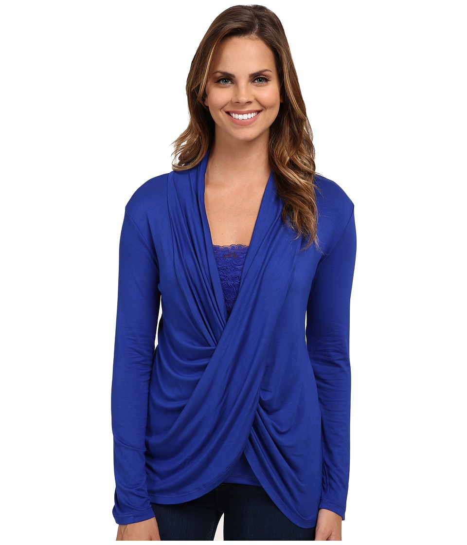 Miraclebody Jeans - Tobi Twisted Wrap Top w/ Body-Shaping Inner Shell (Electric Blue) Women's Blouse