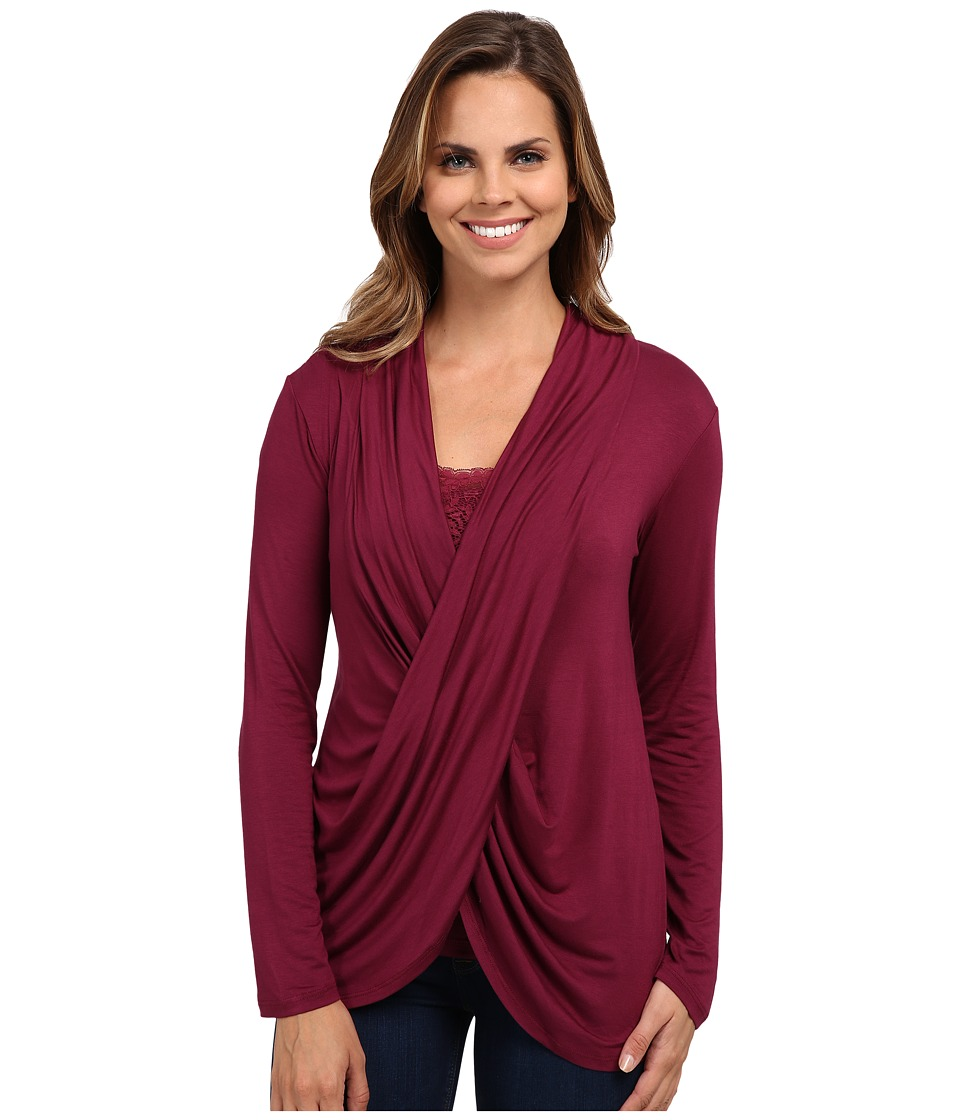 Miraclebody Jeans - Tobi Twisted Wrap Top w/ Body-Shaping Inner Shell (Beet Purple) Women's Blouse