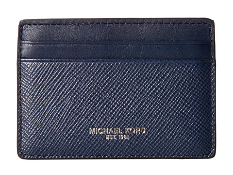 Michael Kors - Harrison Cross Grain Leather Card Case (Navy) Wallet