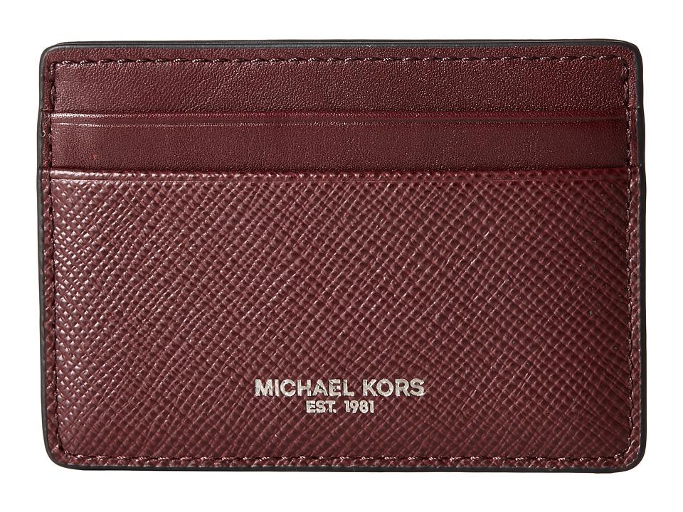Michael Kors - Harrison Cross Grain Leather Card Case (Oxblood) Wallet
