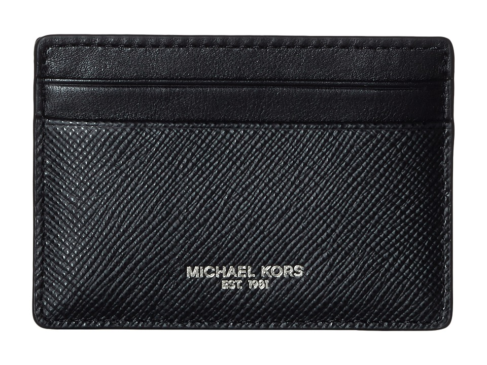 Michael Kors - Harrison Cross Grain Leather Card Case w/ Money Clip (Black) Wallet