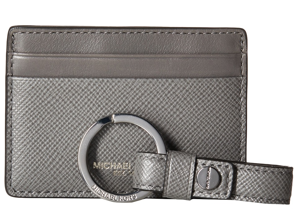 Michael Kors - Box Sets Cross Grain Leather Card Case w/ Key Fob Set (Grey) Wallet