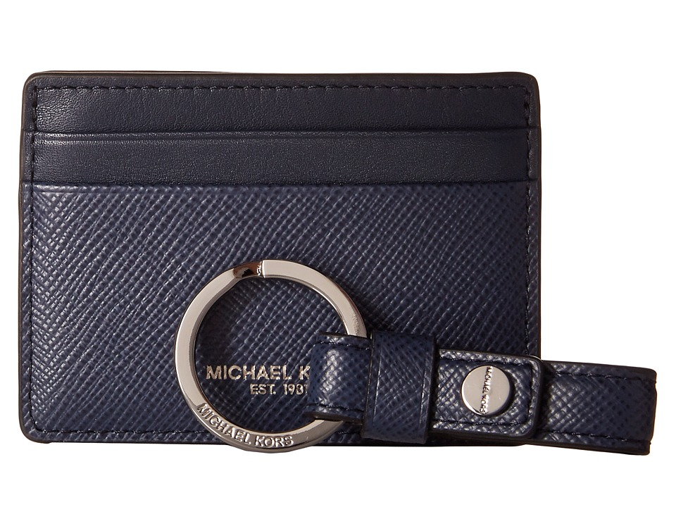 Michael Kors - Box Sets Cross Grain Leather Card Case w/ Key Fob Set (Navy) Wallet