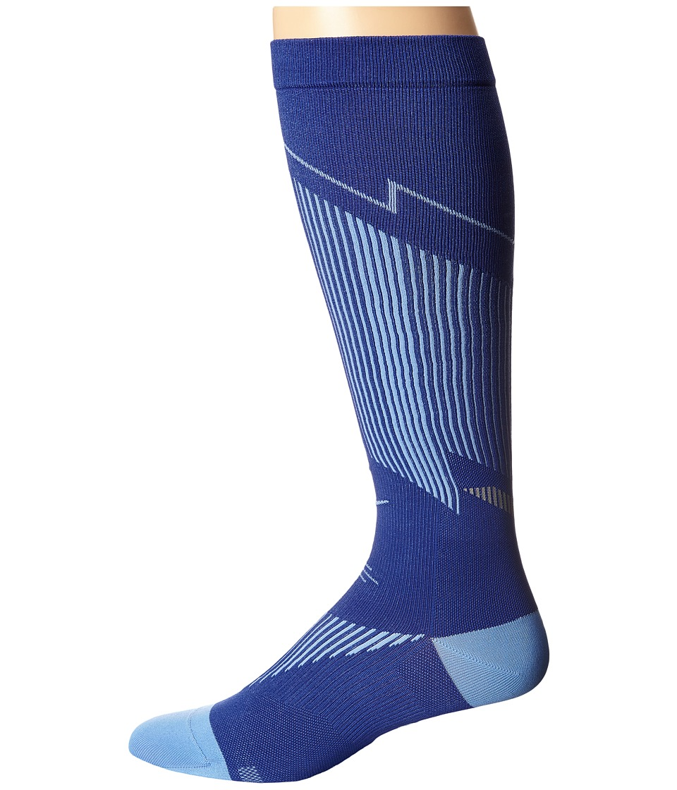 Nike - Elite Running Graduated (Deep Night/Chalk Blue/Chalk Blue) Knee High Socks Shoes