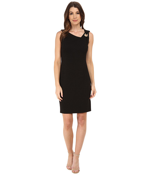 Laundry by Shelli Segal - Asymmetric Neck Dress w/ Metal Trim (Black) Women