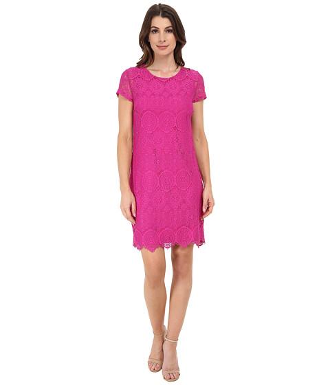 Laundry by Shelli Segal - Short Sleeve T-Body Lace Dress (Shocking Pink) Women