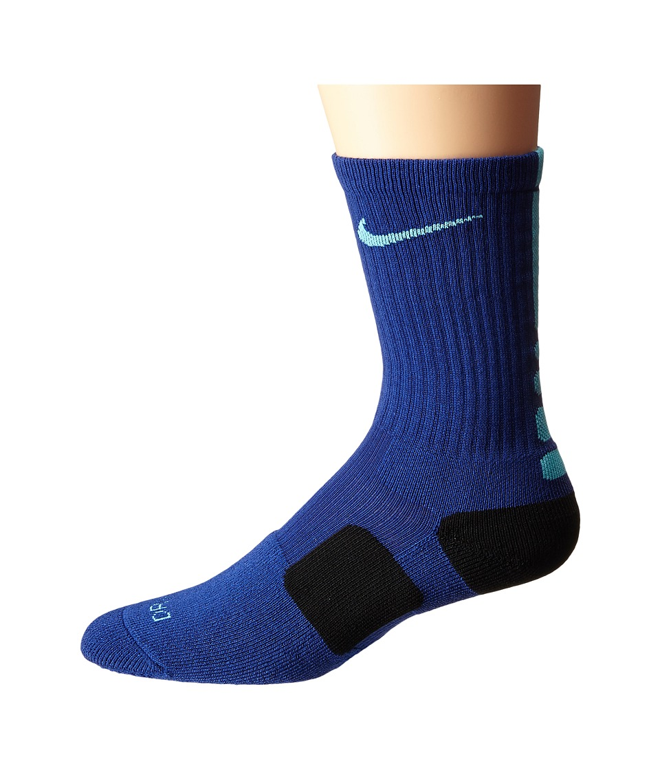 Nike - Elite Basketball Crew (Deep Royal Blue/Beta Blue/Beta Blue) Crew Cut Socks Shoes