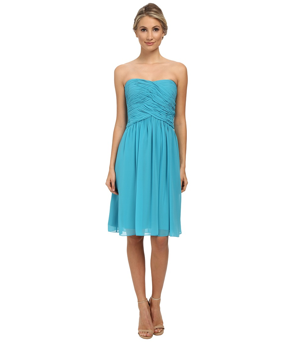 Donna Morgan - Anne Short Strapless Chiffon Dress (Blue/Green) Women's Dress