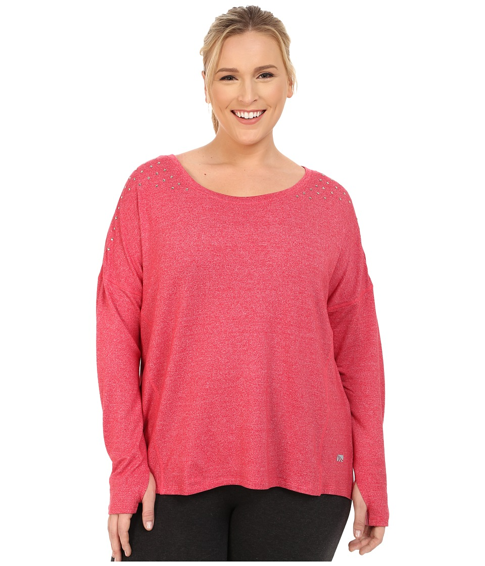 Marika Curves - Plus Size Alexis Studded Long Sleeve Top (Heather Tomato Puree) Women